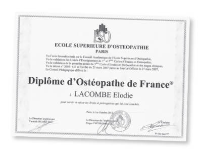 Diplome Osteopathe ESO